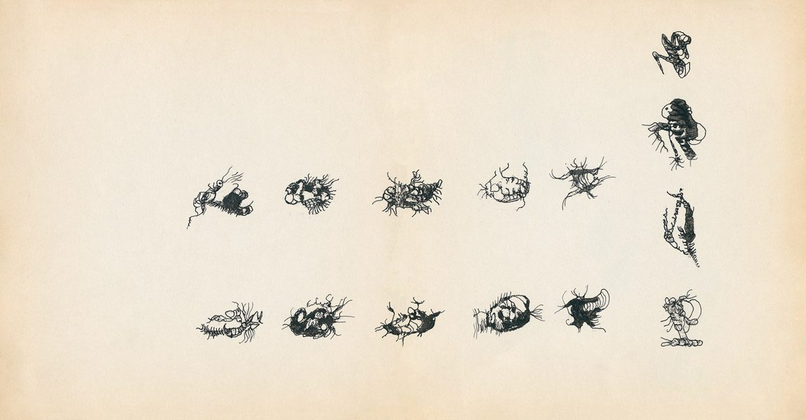 "LEBADANG, ""Genesis_03_04"", circa 1960, encre de Chine sur papier, 16.8 x 16.3 cm. © Myshu Lebadang, Paris, France."