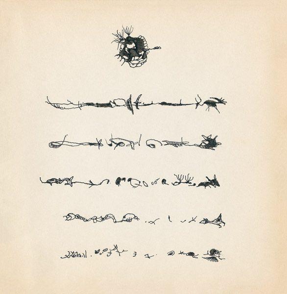 "LEBADANG, ""Genesis_07"", circa 1960, encre de Chine sur papier, 16.8 x 16.3 cm. © Myshu Lebadang, Paris, France."