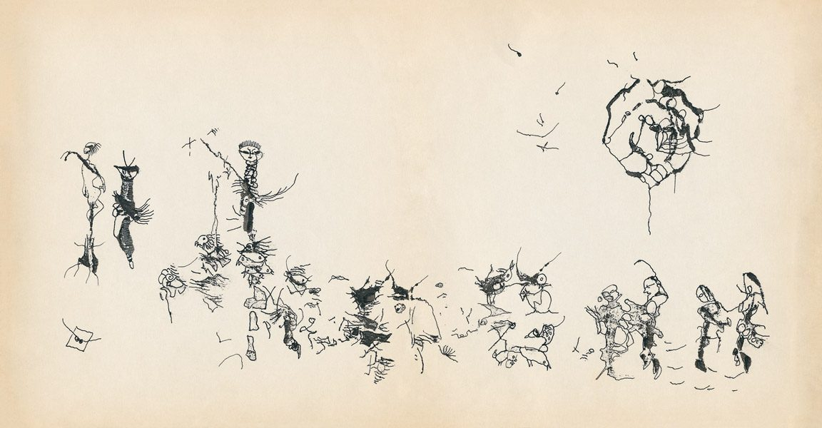 "LEBADANG, ""Genesis_13_14"", circa 1960, encre de Chine sur papier, 16.8 x 16.3 cm. © Myshu Lebadang, Paris, France."