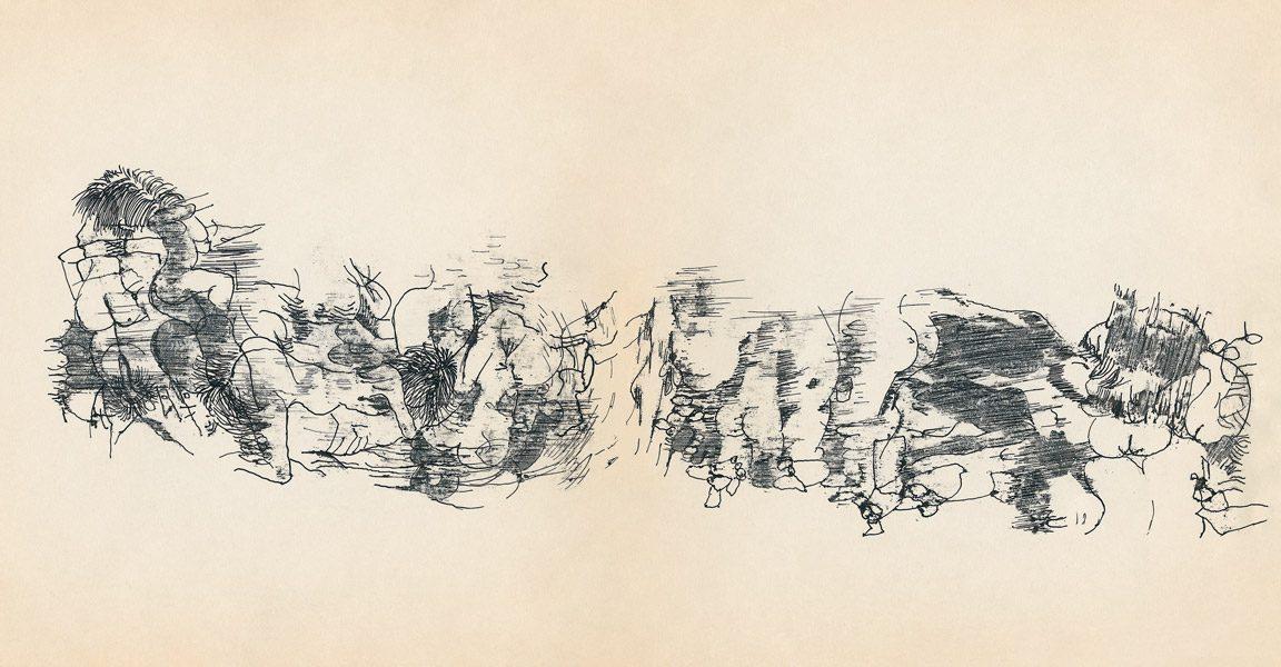 "LEBADANG, ""Genesis_34_35"", circa 1960, encre de Chine sur papier, 16.8 x 16.3 cm. © Myshu Lebadang, Paris, France."