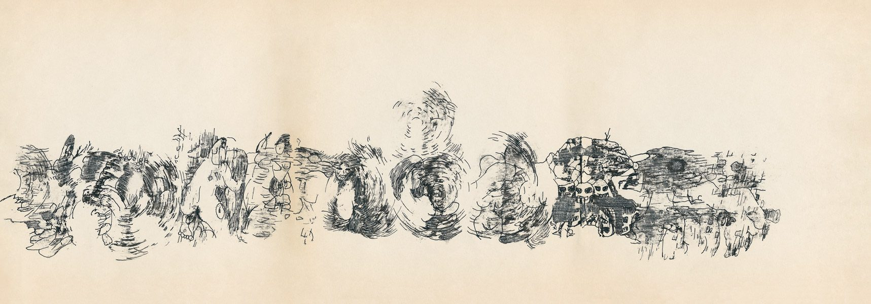 "LEBADANG, ""Genesis_36_37_38"", circa 1960, encre de Chine sur papier, 16.8 x 16.3 cm. © Myshu Lebadang, Paris, France."