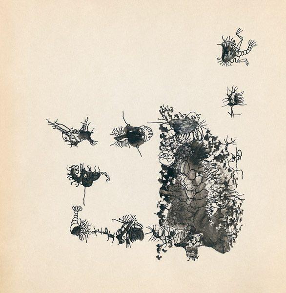 "LEBADANG, ""Genesis_45"", circa 1960, encre de Chine sur papier, 16.8 x 16.3 cm. © Myshu Lebadang, Paris, France."