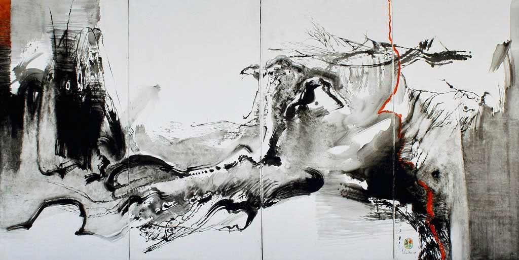 """LEBADANG, """"Paysage indomptable"""", 1970, huile sur toile, 120 x 240 cm. Fondation d'Art Lebadang, Huế, Viêt Nam. Droits réservés."""