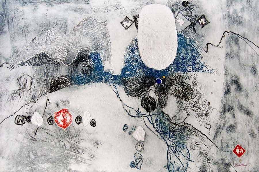 """LEBADANG, """"Espace"""", 1970, gravure et reliefs sur papier, 66 x 102 cm. Fondation d'Art Lebadang, Huế, Viêt Nam. Droits réservés."""