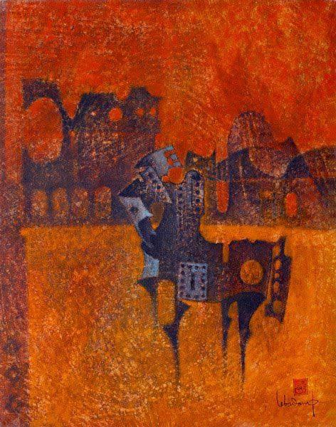 """LEBADANG, """"Cheval-armure"""", 1973, huile sur toile, 81 x 65 cm. Fondation d'Art Lebadang, Huế, Viêt Nam. Droits réservés"""