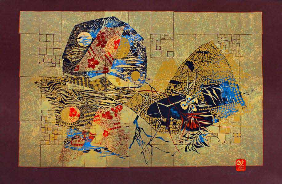 "LEBADANG, ""Lebadangraphy"",1970, silkscreen on paper, 77 x 117 cm. Lebadang Art Foundation, Huế, Viêt Nam. Rights reserved."