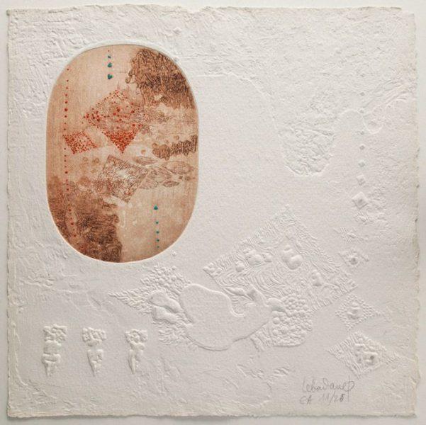 """LEBADANG, """"Space K"""", 1987, M.C. 2015-50, eau-forte et reliefs sur papier, 51,5 x 52 cm. © Stéphane Piera / Musée Cernuschi / Roger-Viollet."""
