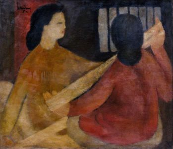"LEBADANG, ""Figures"", 1951, oil on canvas. Myshu Lebadang, Paris, France. © Luc HO."