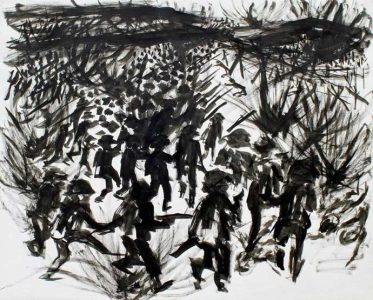 "LEBADANG, ""Battle of Diên Biên Phu"", 1954, Indian ink on paper, 50 x 65 cm. Lebadang Art Foundation, Huế, Viêt Nam. Rights reserved."