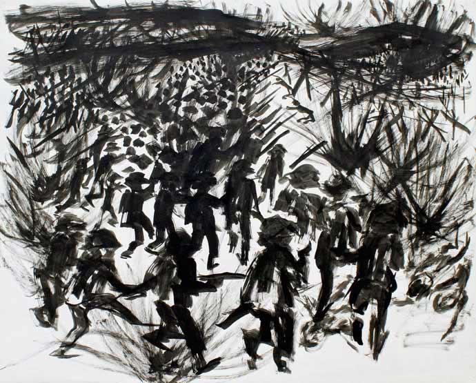 """LEBADANG, """"Bataille de Ðiện Biên Phủ"""", 1954, encre de Chine sur papier, 50 x 65 cm. Fondation d'Art Lebadang, Huế, Viêt Nam. Droits réservés."""