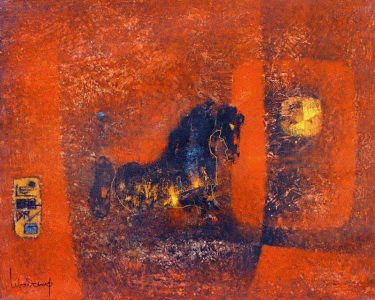 "LEBADANG, ""Horse at Sunset"", 1967, oil on canvas, 65 x 81 cm. Lebadang Art Foundation, Huế, Viêt Nam. Rights reserved."