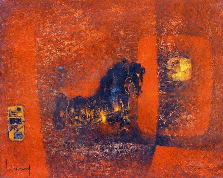 """LEBADANG, """"Cheval au crépuscule"""", 1967, huile sur toile, 65 x 81 cm. Fondation d'Art Lebadang, Huế, Viêt Nam. Droits réservés."""