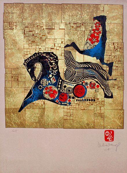 """LEBADANG, """"Lebadangraphy - Cheval"""", 1970, sérigraphie sur papier, 76 x 56 cm. Fondation d'Art Lebadang, Huế, Viêt Nam. Droits réservés."""