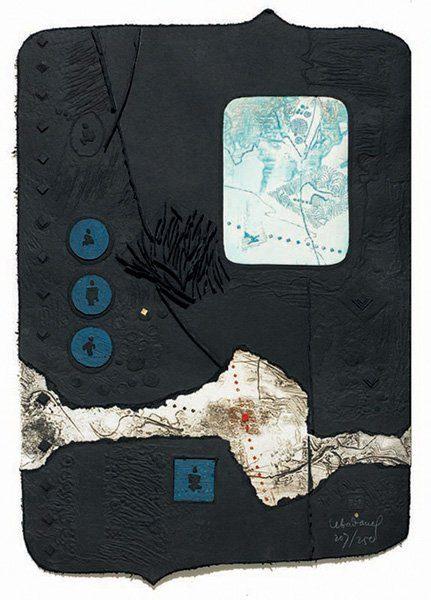 """LEBADANG, """"Apparition de la rivière"""", 1987, papier, relief, gravure, aquarelle, poinçon d'or et acrylique sur papier, 80 x 56 cm. Myshu Lebadang, Paris, France. © Luc HO."""