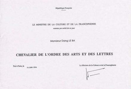 """LEBADANG, Chevalier de l'LEBADANG, """"Chevalier de l'ordre des Arts et des Lettres"""", 1994. Myshu Lebadang, Paris, France. © Luc HO. des Arts et des Lettres, 1994. Myshu Lebadang, Paris, France. © Luc HO."""