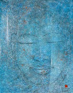"LEBADANG, ""Buddha"", 2007, oil on canvas, 116 x 89 cm. © Lebadang Art Foundation, Huế, Viêt Nam"