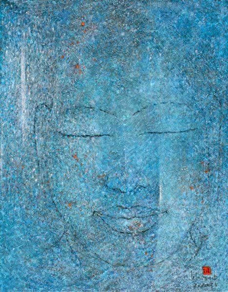 "LEBADANG, ""Bouddha"", 2007, huile sur toile, 116 x 89 cm. © Fondation d'Art Lebadang, Huế, Viêt Nam."