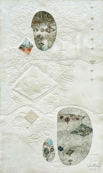"""LEBADANG, """"Paysage"""", 1970, gravure, reliefs et acrylique sur papier, 170 x 112 cm. Fondation d'Art Lebadang, Huế, Viêt Nam. Droits réservés."""