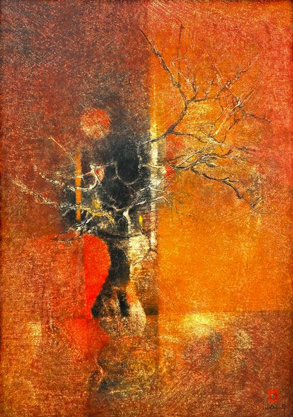 "LEBADANG, ""Tree under the Moon"", 1967, oil on canvas, 162 x 130 cm. Lebadang Art Foundation, Huế, Viêt Nam. Rights reserved."