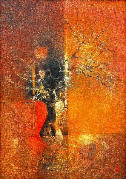 """LEBADANG, """"Arbre sous la lune"""", 1967, huile sur toile, 162 x 130 cm. Fondation d'Art Lebadang, Huế, Viêt Nam. Droits réservés."""