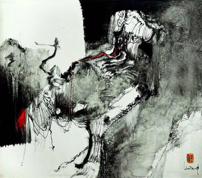 """LEBADANG, """"Paysage indomptable"""", 1972, huile sur toile, Fondation d'Art Lebadang, Huế, Viêt Nam. Droits réservés."""