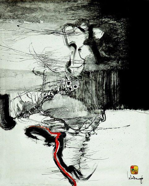 """LEBADANG, """"Paysage indomptable"""", 1972, huile sur toile, 100 x 81 cm. Fondation d'Art Lebadang, Huế, Viêt Nam. Droits réservés."""