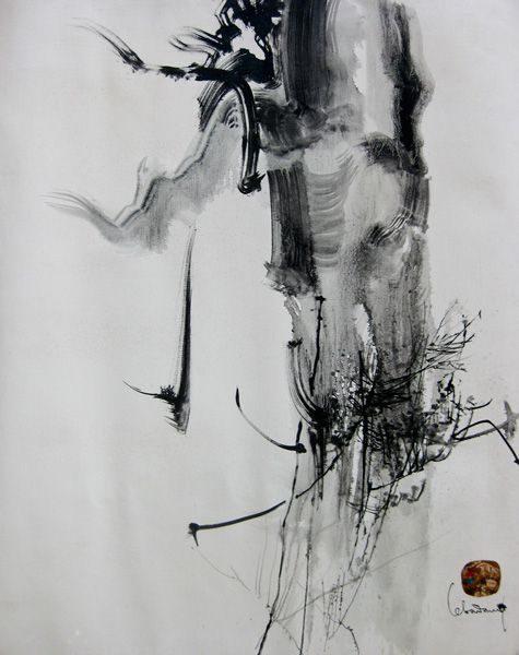 """LEBADANG, """"Paysage indomptable"""", 1972, huile sur toile, 100 x 81 cm. Fondation d'Art Lebadang, Huế, Viêt Nam. Droits réservés"""