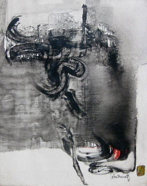 """LEBADANG, """"Paysage indomptable"""", 1972, huile sur toile, 92 x 73 cm. Fondation d'Art Lebadang, Huế, Viêt Nam. Droits réservés."""