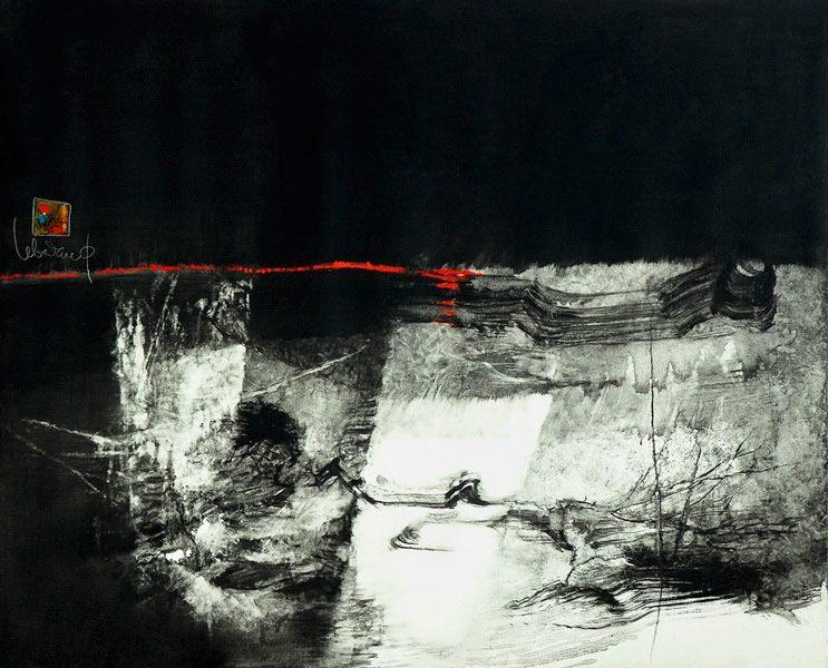 """LEBADANG, """"Paysage indomptable"""", 1972, huile sur toile, 81 x 100 cm. Fondation d'Art Lebadang, Huế, Viêt Nam. Droits réservés."""