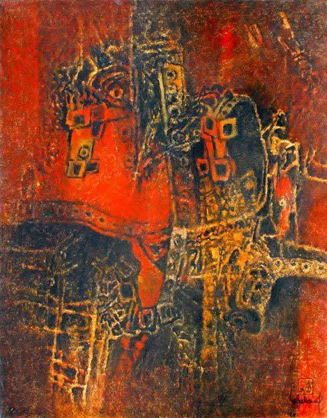 """LEBADANG, """"Cheval-armure"""", 1973, huile sur toile, 100 x 81 cm. Fondation d'Art Lebadang, Huế, Viêt Nam. Droits réservés."""