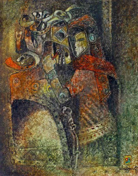 """LEBADANG, """"Cheval-armure"""", 1973, huile sur toile, 81 x 65 cm. Fondation d'Art Lebadang, Huế, Viêt Nam. Droits réservés."""