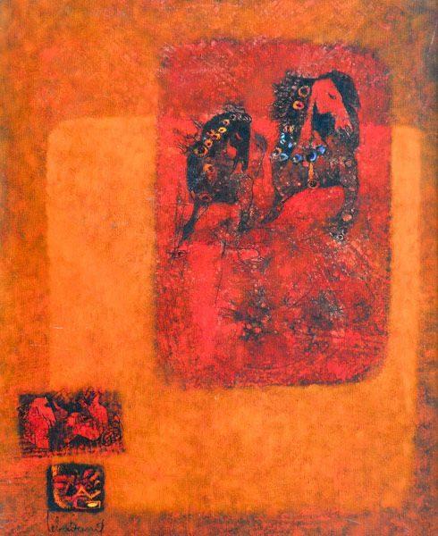 """LEBADANG, """"Deux chevaux"""", huile sur toile, 81 x 65 cm. Fondation d'Art Lebadang, Huế, Viêt Nam. Droits réservés."""