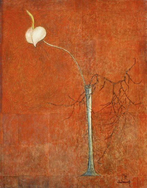 """LEBADANG, """"Arum et branche"""", 1978, huile sur toile, 73 x 60 cm. Fondation d'Art Lebadang, Huế, Viêt Nam. Droits réservés."""