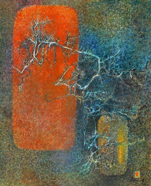 """LEBADANG, """"Vase et branche"""", 1978, huile sur toile, 100 x 81 cm. Fondation d'Art Lebadang, Huế, Viêt Nam. Droits réservés."""