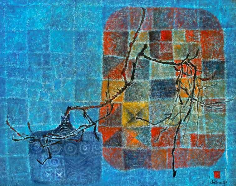 """LEBADANG, """"Vase et branche"""", 1977, huile sur toile, 81 x 100 cm. Fondation d'Art Lebadang, Huế, Viêt Nam. Droits réservés"""