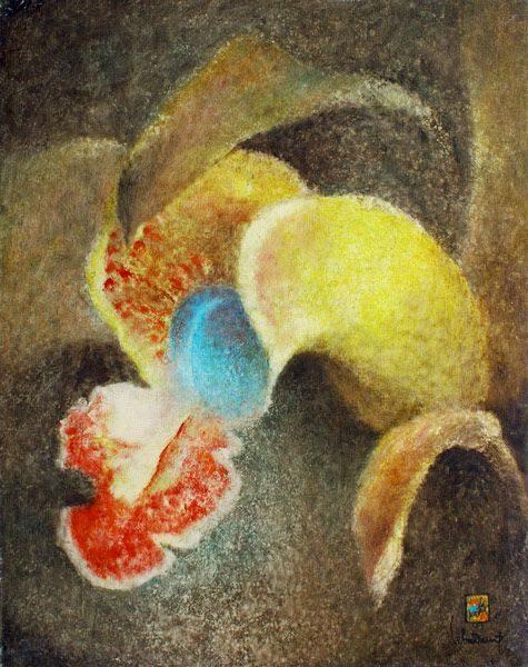 """LEBADANG, """"Orchidée"""", 1977, huile sur toile, 100 x 81 cm. Fondation d'Art Lebadang, Huế, Viêt Nam. Droits réservés."""