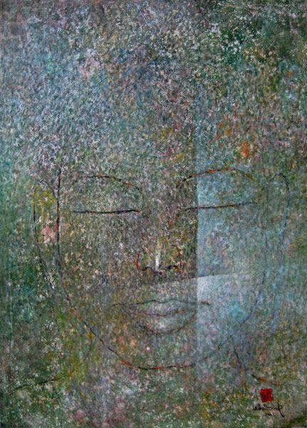 """LEBADANG, """"Bouddha"""", 2005, huile sur toile, 92 x 73 cm. Fondation d'Art Lebadang, Huế, Viêt Nam. Droits réservés."""