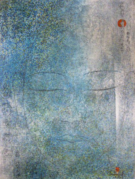 """LEBADANG, """"Bouddha"""", 2002, huile sur toile, 92 x 73 cm. Fondation d'Art Lebadang, Huế, Viêt Nam. Droits réservés."""