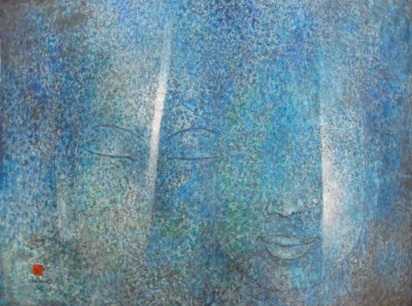 """LEBADANG, """"Bouddha"""", 2003, huile sur toile, 97 x 130 cm. Fondation d'Art Lebadang, Huế, Viêt Nam. Droits réservés."""