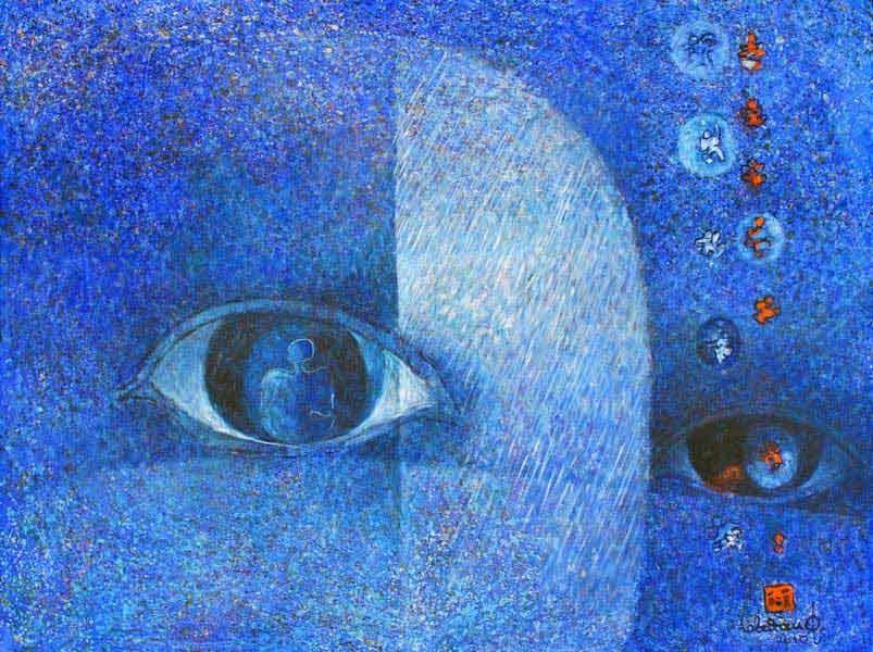 """LEBADANG, """"Yeux"""", 2006, huile sur toile, 97 x 130 cm. Fondation d'Art Lebadang, Huế, Viêt Nam. Droits réservés."""