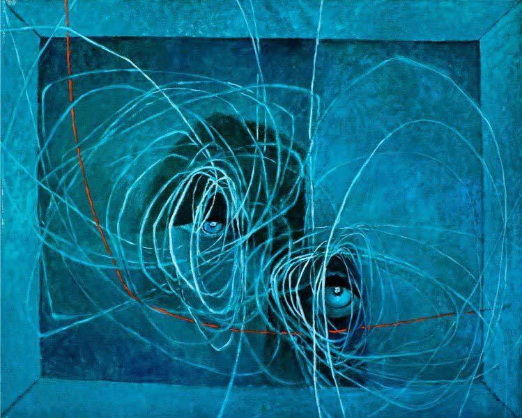 """LEBADANG, """"Yeux"""", huile sur toile. Fondation d'Art Lebadang, Huế, Viêt Nam. Droits réservés."""