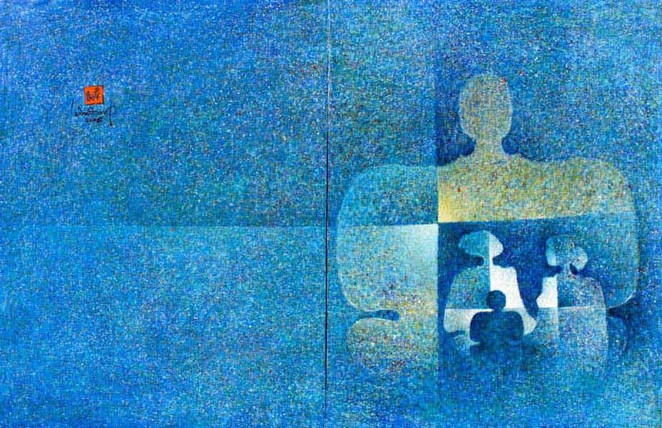 """LEBADANG, """"Cosmic Family"""", 2009, huile sur toile, diptyque, 89 x 260 cm. Fondation d'Art Lebadang, Huế, Viêt Nam. Droits réservés."""