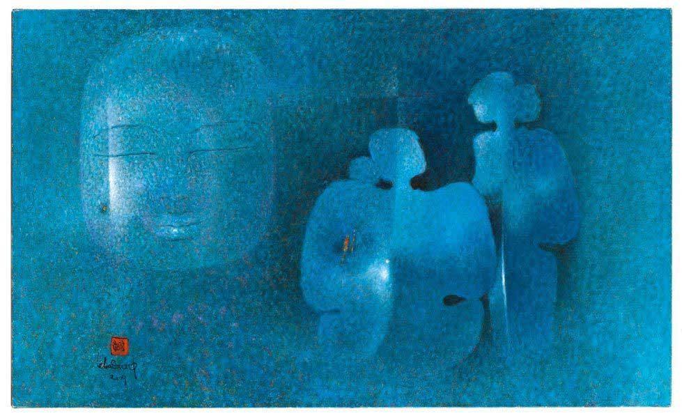 """LEBADANG, """"Cosmic Family"""", 2009, huile sur toile, 89 x 146 cm. Musée Cernuschi, Paris, France. © Stéphane Piera / Musée Cernuschi / Roger-Viollet"""