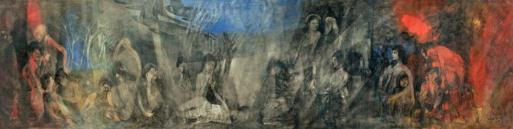 """LEBADANG, """"Guerre du Viêt Nam"""", 1965, huile sur toile, 120 x 700 cm. Fondation d'Art Lebadang, Huế, Viêt Nam. Droits réservés."""