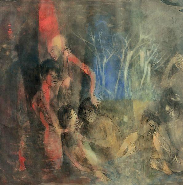 """LEBADANG, """"Guerre du Viêt Nam"""" (détail 1), 1965, huile sur toile, 120 x 700 cm. Fondation d'Art Lebadang, Huế, Viêt Nam. Droits réservés"""