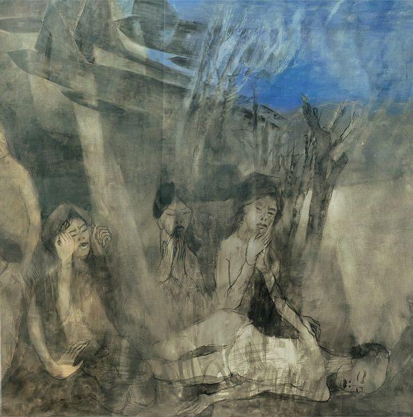 """LEBADANG, """"Guerre du Viêt Nam"""" (détail 2), 1965, huile sur toile, 120 x 700 cm. Fondation d'Art Lebadang, Huế, Viêt Nam. Droits réservés."""