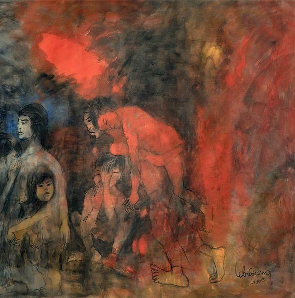 """LEBADANG, """"Guerre du Viêt Nam"""" (détail 4), 1965, huile sur toile, 120 x 700 cm. Fondation d'Art Lebadang, Huế, Viêt Nam. Droits réservés."""