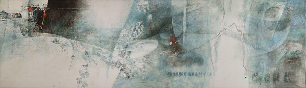 """LEBADANG, """"Paysage bleu"""", 1976, huile sur toile, 220 x 800 cm. Fondation d'Art Lebadang, Huế, Viêt Nam. Droits réservés."""