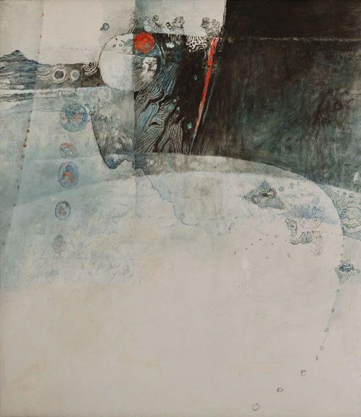 """LEBADANG, """"Paysage bleu"""" (détail 1), 1976, huile sur toile, 220 x 800 cm. Fondation d'Art Lebadang, Huế, Viêt Nam. Droits réservés."""
