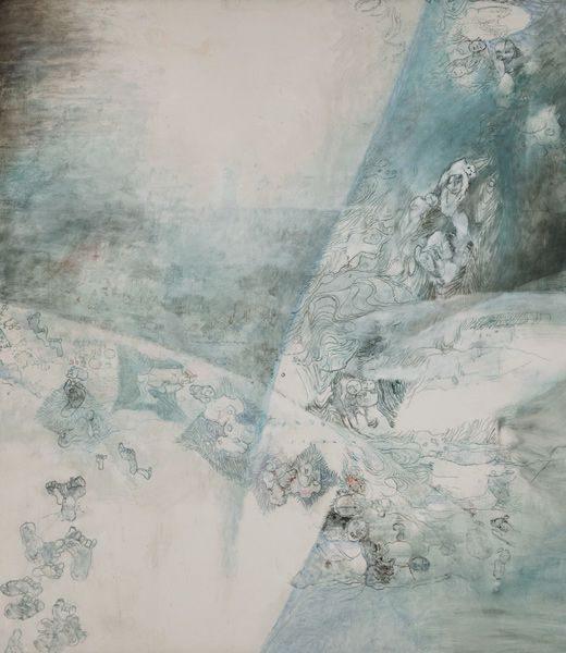 """LEBADANG, """"Paysage bleu"""" (détail 2), 1976, huile sur toile, 220 x 800 cm. Fondation d'Art Lebadang, Huế, Viêt Nam. Droits réservés."""